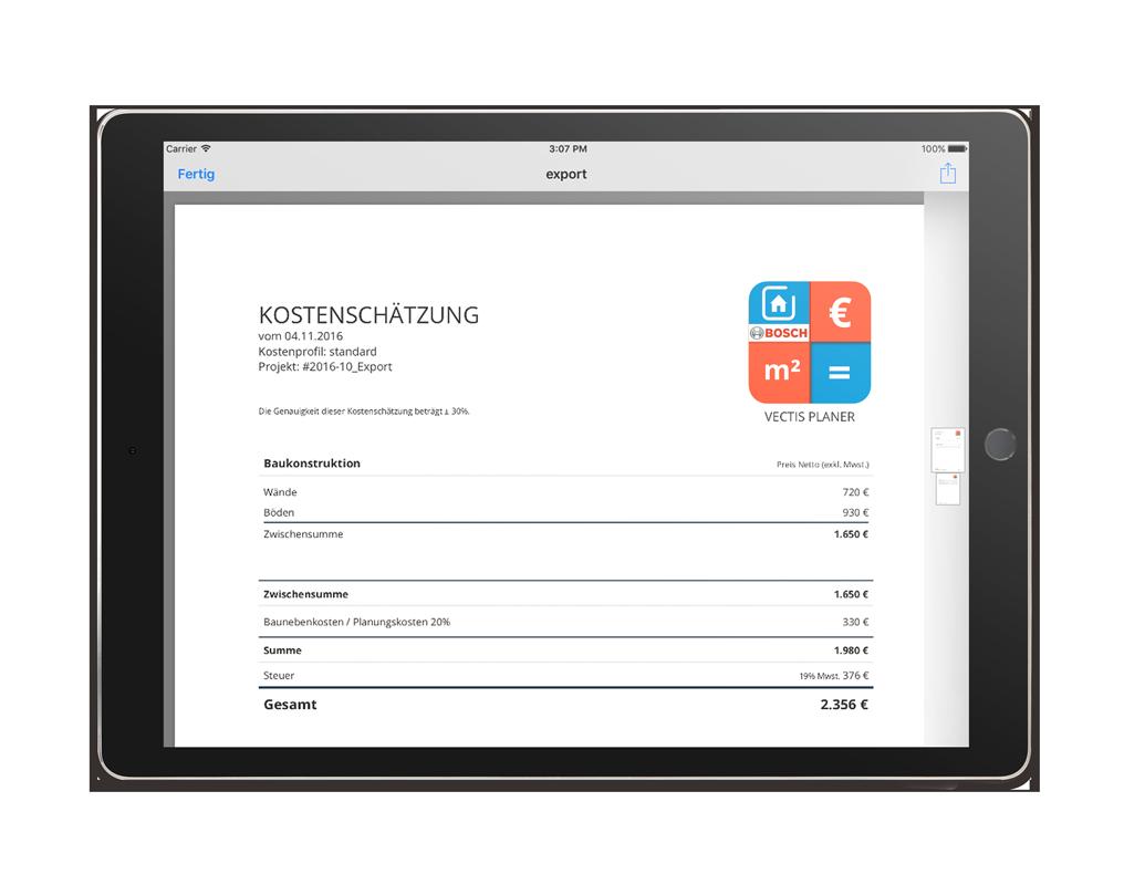 VECTIS Planer App – Export PDF